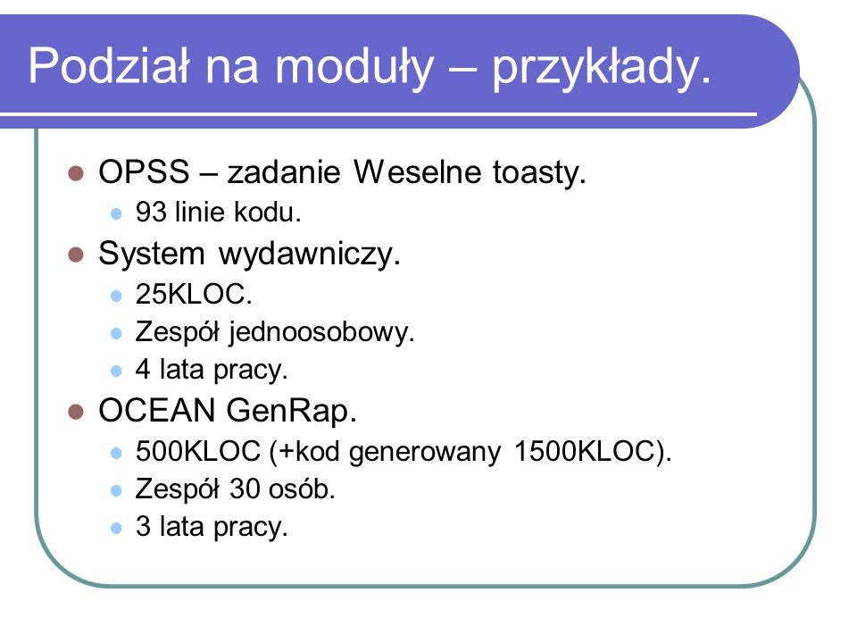 Podział na moduły – przykłady. OPSS – zadanie Weselne toasty. 93 linie kodu. System wydawniczy. 25KLOC. Zespół jednoosobowy. 4 lata pracy. OCEAN GenRa