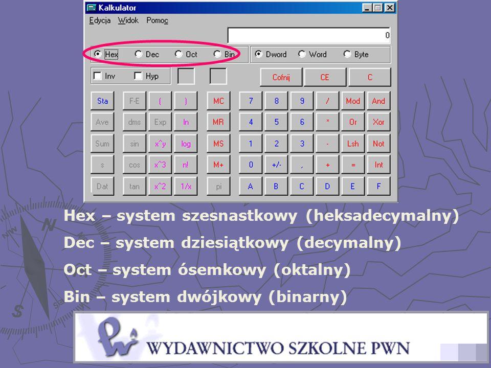Hex – system szesnastkowy (heksadecymalny) Dec – system dziesiątkowy (decymalny) Oct – system ósemkowy (oktalny) Bin – system dwójkowy (binarny)