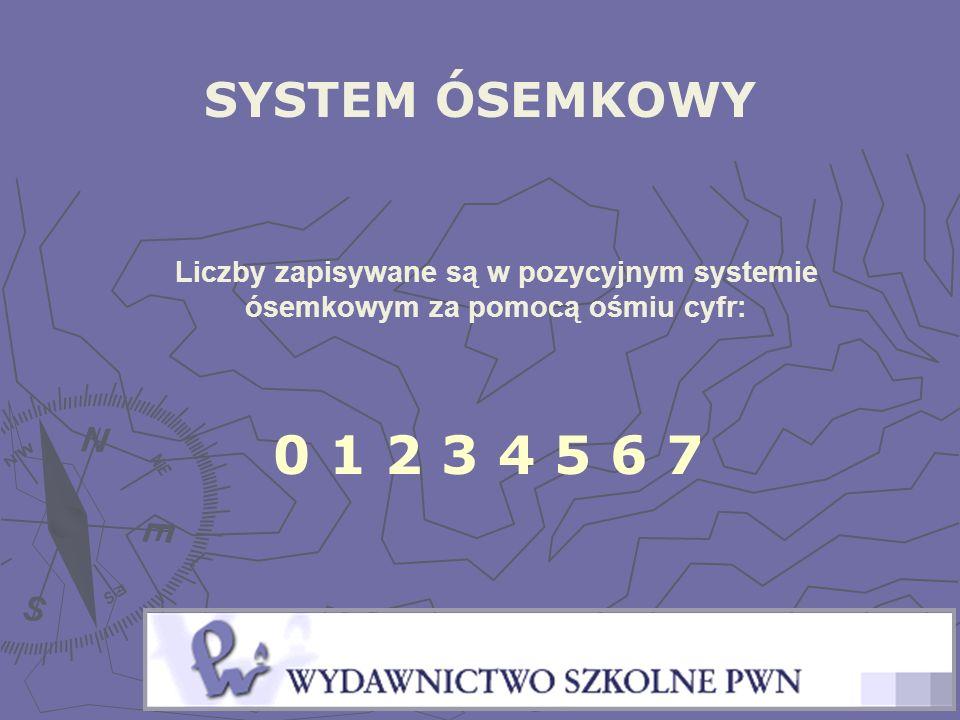 SYSTEM ÓSEMKOWY Liczby zapisywane są w pozycyjnym systemie ósemkowym za pomocą ośmiu cyfr: 0 1 2 3 4 5 6 7