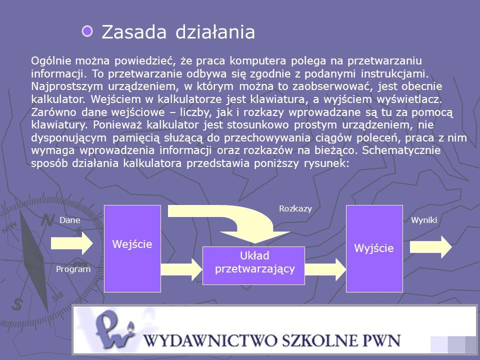 Zasada działania Ogólnie można powiedzieć, że praca komputera polega na przetwarzaniu informacji. To przetwarzanie odbywa się zgodnie z podanymi instr
