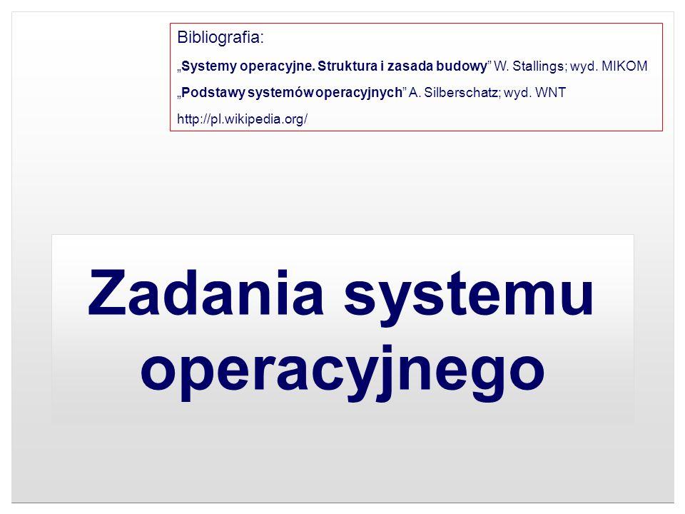 Zadania systemu operacyjnego Bibliografia: Systemy operacyjne. Struktura i zasada budowy W. Stallings; wyd. MIKOM Podstawy systemów operacyjnych A. Si