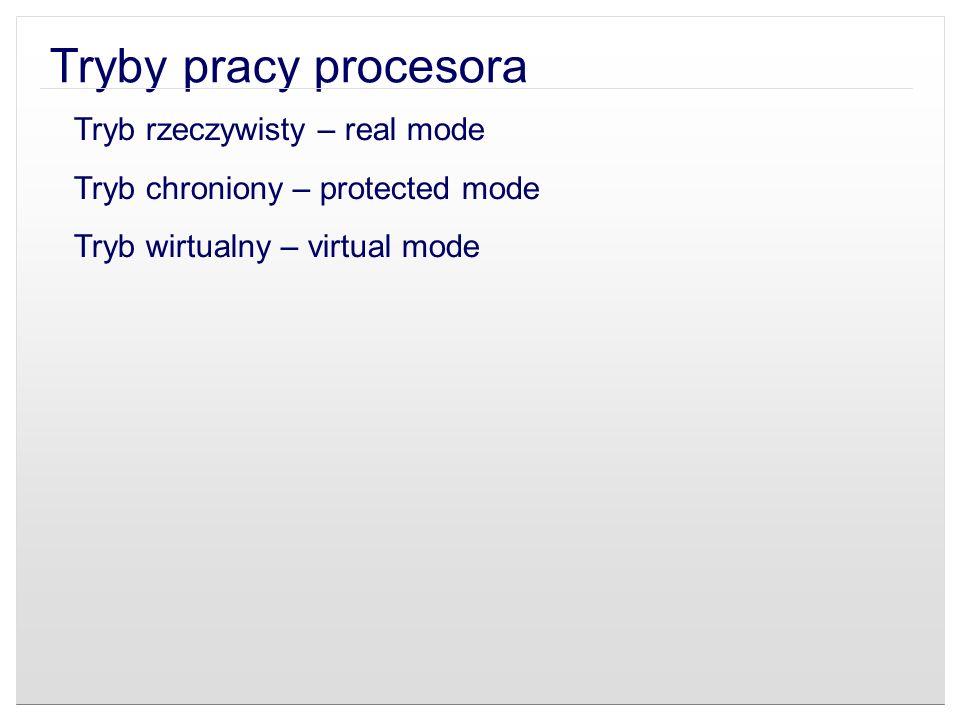Tryb rzeczywisty – real mode Tryb chroniony – protected mode Tryb wirtualny – virtual mode
