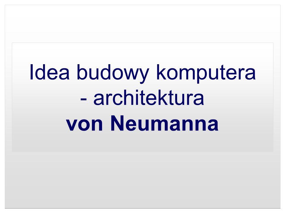 Architektura von Neumanna Architektura von Neumanna - rodzaj architektury komputera, przedstawionej po raz pierwszy w 1945 roku przez Johna von Neumanna stworzonej wspólnie z Johnem W.