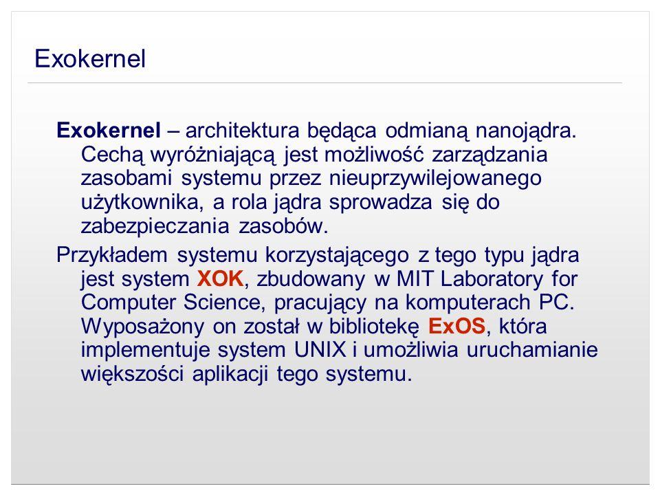 Exokernel Exokernel – architektura będąca odmianą nanojądra. Cechą wyróżniającą jest możliwość zarządzania zasobami systemu przez nieuprzywilejowanego