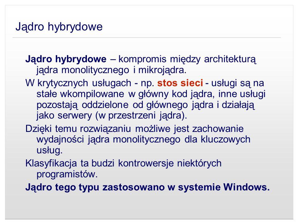 Jądro hybrydowe Jądro hybrydowe – kompromis między architekturą jądra monolitycznego i mikrojądra. W krytycznych usługach - np. stos sieci - usługi są