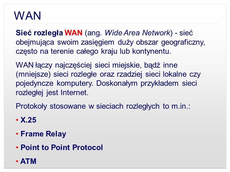 Sieć rozległa WAN (ang. Wide Area Network) - sieć obejmująca swoim zasięgiem duży obszar geograficzny, często na terenie całego kraju lub kontynentu.