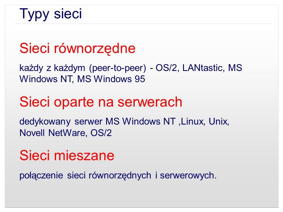Sieci równorzędne każdy z każdym (peer-to-peer) - OS/2, LANtastic, MS Windows NT, MS Windows 95 Sieci oparte na serwerach dedykowany serwer MS Windows