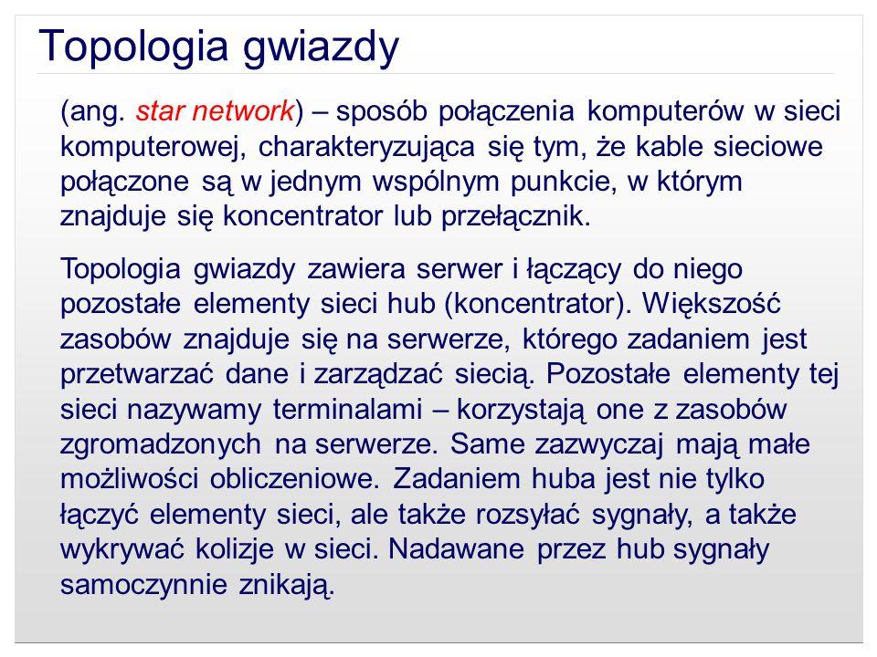 (ang. star network) – sposób połączenia komputerów w sieci komputerowej, charakteryzująca się tym, że kable sieciowe połączone są w jednym wspólnym pu