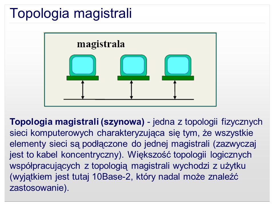 Topologia magistrali (szynowa) - jedna z topologii fizycznych sieci komputerowych charakteryzująca się tym, że wszystkie elementy sieci są podłączone