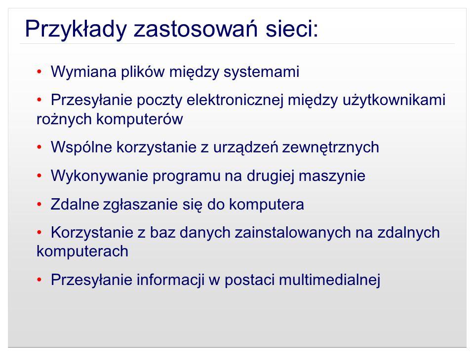 Przykłady zastosowań sieci: Wymiana plików między systemami Przesyłanie poczty elektronicznej między użytkownikami rożnych komputerów Wspólne korzysta