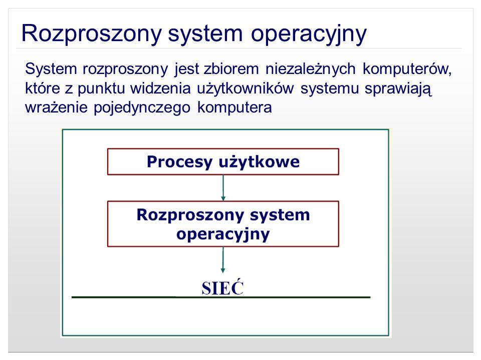 Rozproszony system operacyjny System rozproszony jest zbiorem niezależnych komputerów, które z punktu widzenia użytkowników systemu sprawiają wrażenie