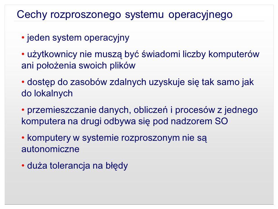 Cechy rozproszonego systemu operacyjnego jeden system operacyjny użytkownicy nie muszą być świadomi liczby komputerów ani położenia swoich plików dost