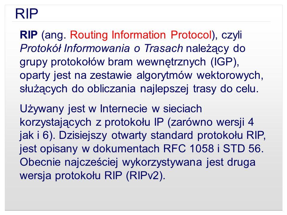 RIP (ang. Routing Information Protocol), czyli Protokół Informowania o Trasach należący do grupy protokołów bram wewnętrznych (IGP), oparty jest na ze