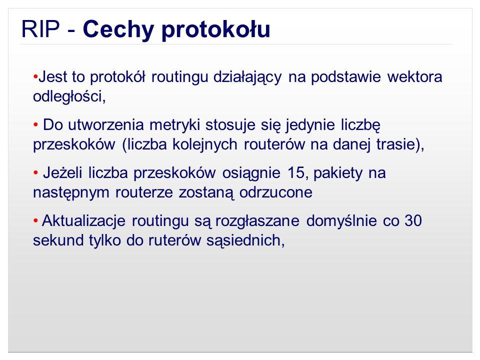 Jest to protokół routingu działający na podstawie wektora odległości, Do utworzenia metryki stosuje się jedynie liczbę przeskoków (liczba kolejnych ro