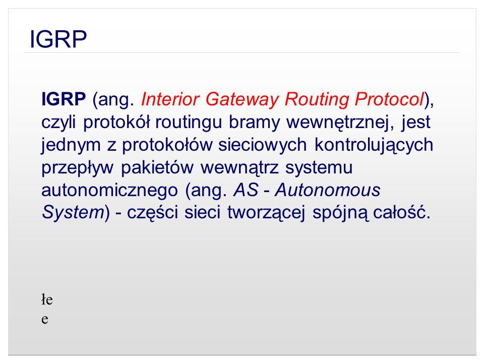 IGRP (ang. Interior Gateway Routing Protocol), czyli protokół routingu bramy wewnętrznej, jest jednym z protokołów sieciowych kontrolujących przepływ