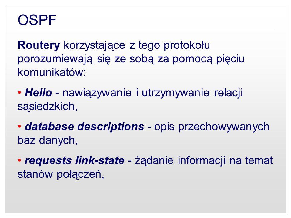 OSPF Routery korzystające z tego protokołu porozumiewają się ze sobą za pomocą pięciu komunikatów: Hello - nawiązywanie i utrzymywanie relacji sąsiedz