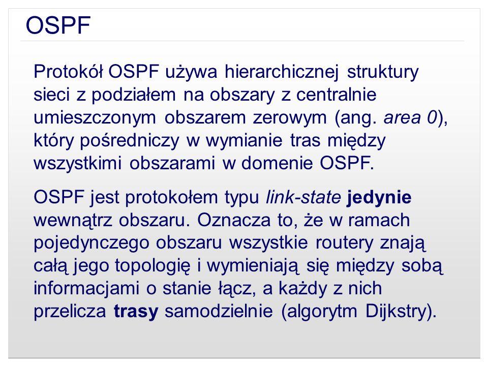 OSPF Protokół OSPF używa hierarchicznej struktury sieci z podziałem na obszary z centralnie umieszczonym obszarem zerowym (ang. area 0), który pośredn