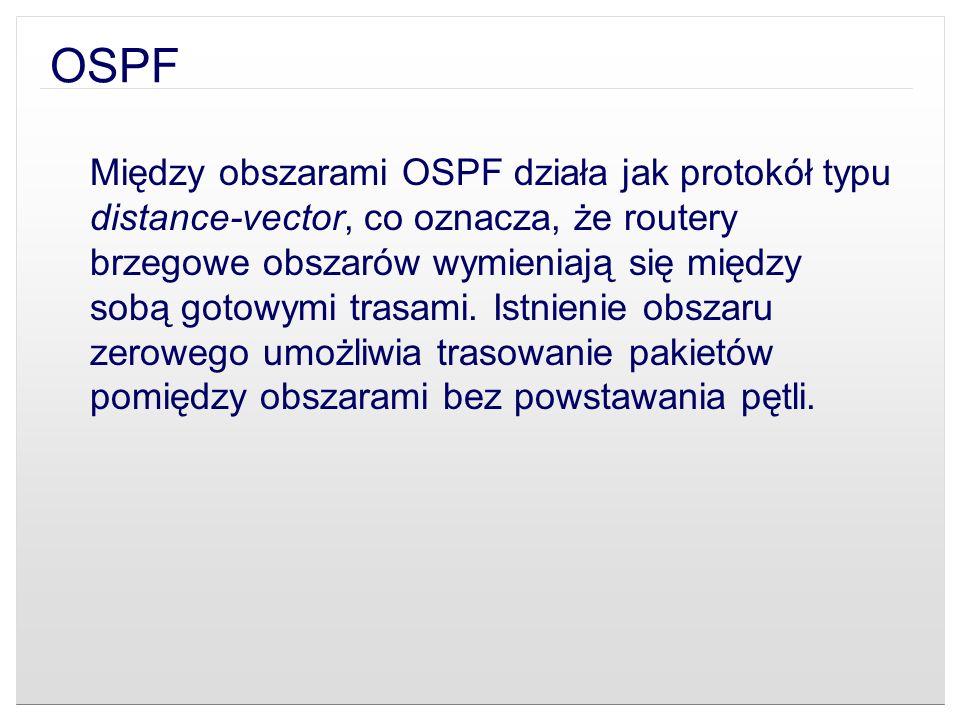 OSPF Między obszarami OSPF działa jak protokół typu distance-vector, co oznacza, że routery brzegowe obszarów wymieniają się między sobą gotowymi tras