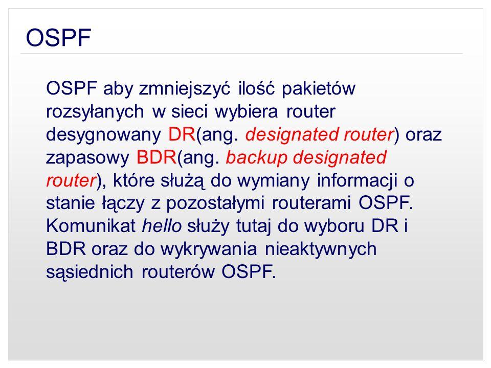 OSPF OSPF aby zmniejszyć ilość pakietów rozsyłanych w sieci wybiera router desygnowany DR(ang. designated router) oraz zapasowy BDR(ang. backup design