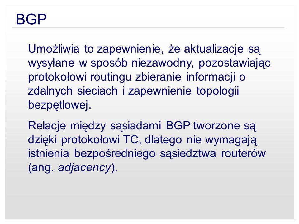 BGP Umożliwia to zapewnienie, że aktualizacje są wysyłane w sposób niezawodny, pozostawiając protokołowi routingu zbieranie informacji o zdalnych siec