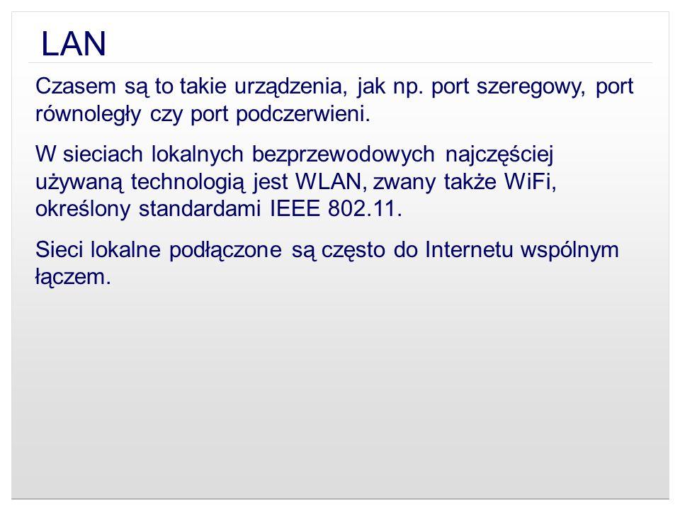 LAN Czasem są to takie urządzenia, jak np. port szeregowy, port równoległy czy port podczerwieni. W sieciach lokalnych bezprzewodowych najczęściej uży