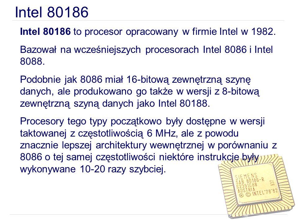 Intel 80186 to procesor opracowany w firmie Intel w 1982. Bazował na wcześniejszych procesorach Intel 8086 i Intel 8088. Podobnie jak 8086 miał 16-bit