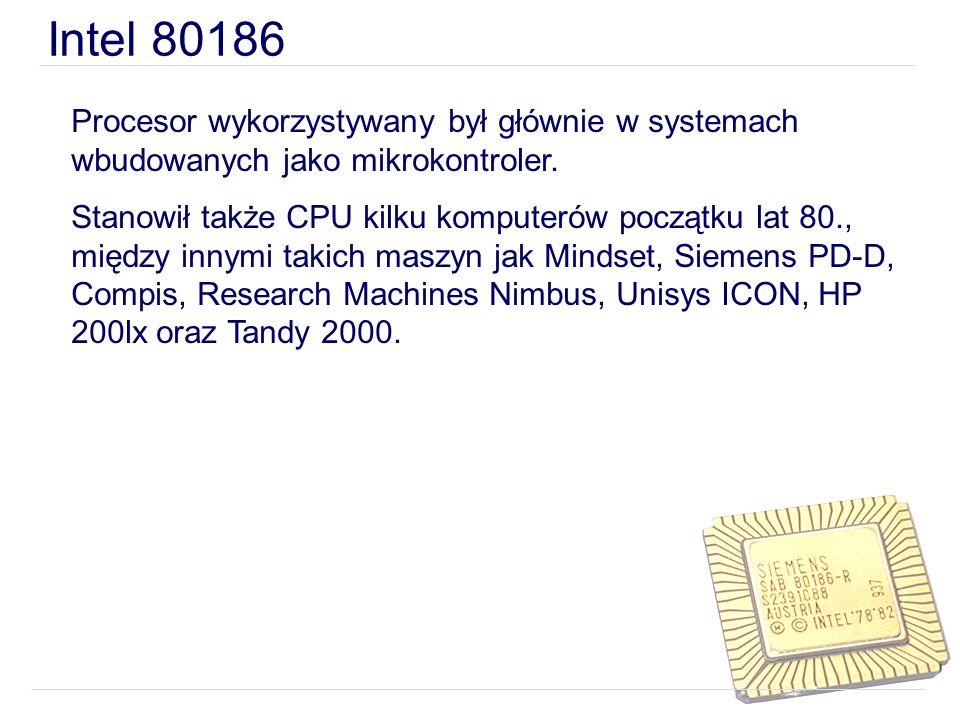 Intel 80186 Procesor wykorzystywany był głównie w systemach wbudowanych jako mikrokontroler. Stanowił także CPU kilku komputerów początku lat 80., mię