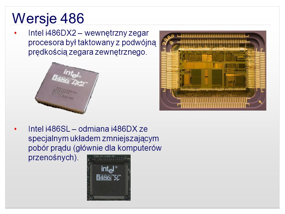 Intel i486DX2 – wewnętrzny zegar procesora był taktowany z podwójną prędkością zegara zewnętrznego. Intel i486SL – odmiana i486DX ze specjalnym układe