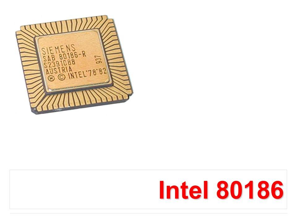 Intel 80386 Procesor 80386 w stosunku do poprzednich przedstawicieli rodziny x86 posiada rozszerzone do 32-bitów rejestry ogólnego przeznaczenia (w stosunku do wersji 16-bitowych dodano do nazwy przedrostek E : EAX, EBX, ECX, EDX, EBP, ESI, EDI, ESP), rejestr EIP (IP - ang.