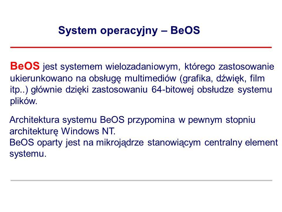 System operacyjny – BeOS Architektura systemu BeOS przypomina w pewnym stopniu architekturę Windows NT. BeOS oparty jest na mikrojądrze stanowiącym ce