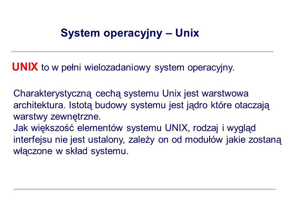 System operacyjny – Unix Charakterystyczną cechą systemu Unix jest warstwowa architektura. Istotą budowy systemu jest jądro które otaczają warstwy zew