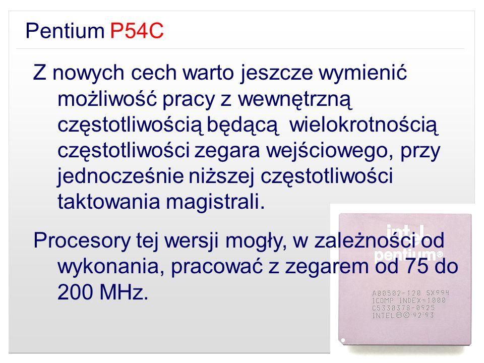 Pentium P54C Z nowych cech warto jeszcze wymienić możliwość pracy z wewnętrzną częstotliwością będącą wielokrotnością częstotliwości zegara wejścioweg