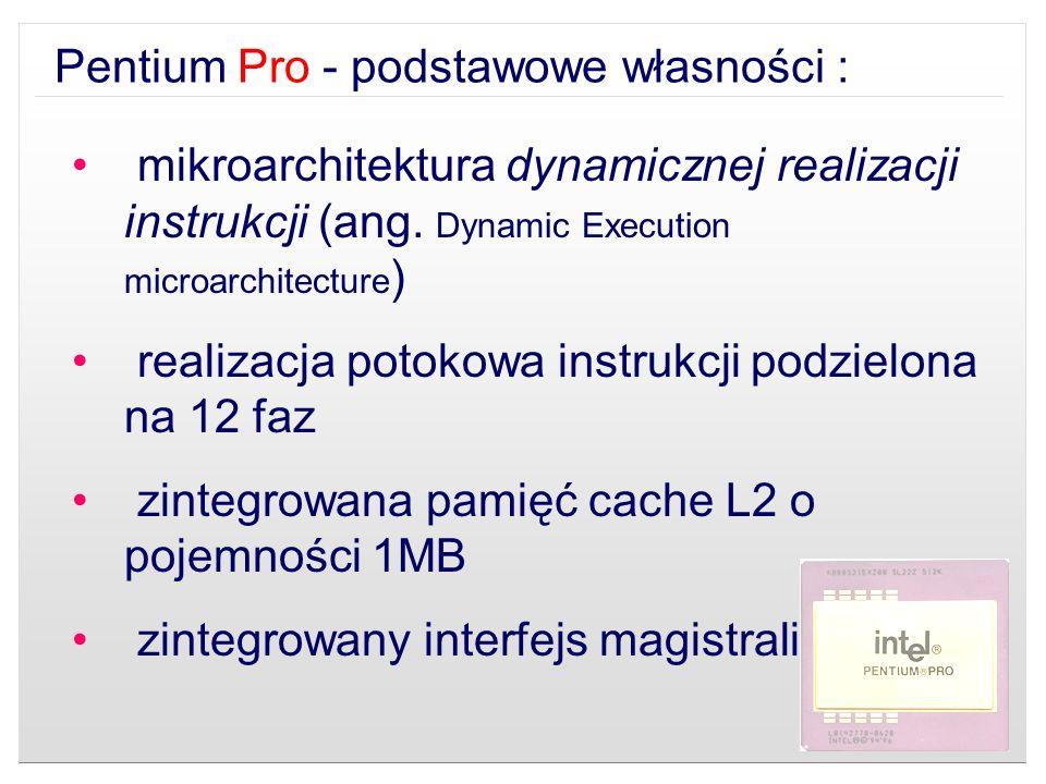 mikroarchitektura dynamicznej realizacji instrukcji (ang. Dynamic Execution microarchitecture ) realizacja potokowa instrukcji podzielona na 12 faz zi