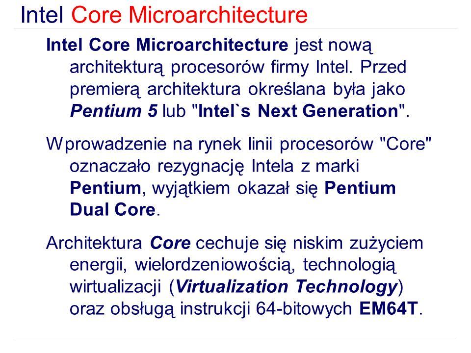 Intel Core Microarchitecture jest nową architekturą procesorów firmy Intel.