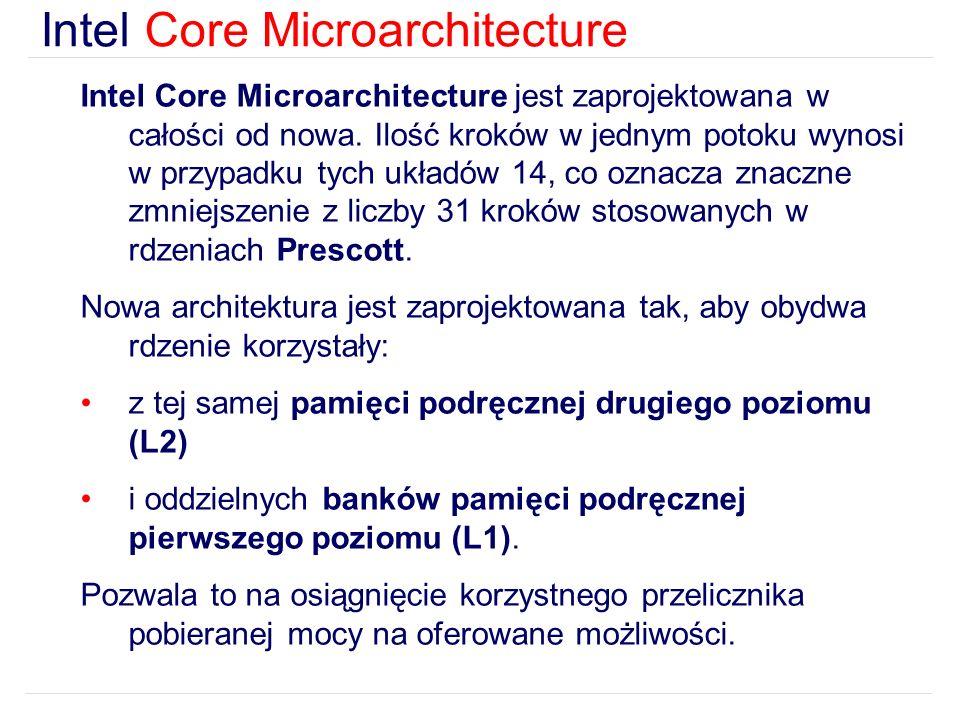 Intel Core Microarchitecture Intel Core Microarchitecture jest zaprojektowana w całości od nowa.