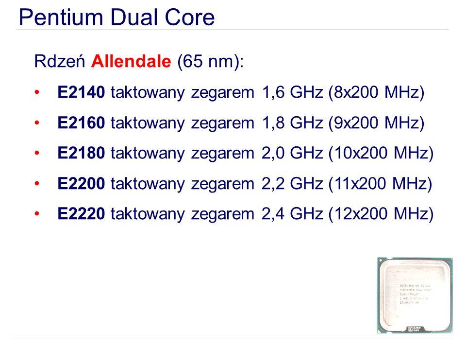 Pentium Dual Core Rdzeń Allendale (65 nm): E2140 taktowany zegarem 1,6 GHz (8x200 MHz) E2160 taktowany zegarem 1,8 GHz (9x200 MHz) E2180 taktowany zegarem 2,0 GHz (10x200 MHz) E2200 taktowany zegarem 2,2 GHz (11x200 MHz) E2220 taktowany zegarem 2,4 GHz (12x200 MHz)