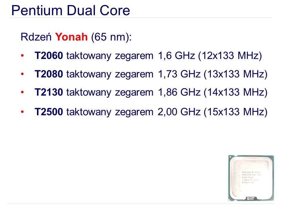 Pentium Dual Core Rdzeń Yonah (65 nm): T2060 taktowany zegarem 1,6 GHz (12x133 MHz) T2080 taktowany zegarem 1,73 GHz (13x133 MHz) T2130 taktowany zegarem 1,86 GHz (14x133 MHz) T2500 taktowany zegarem 2,00 GHz (15x133 MHz)