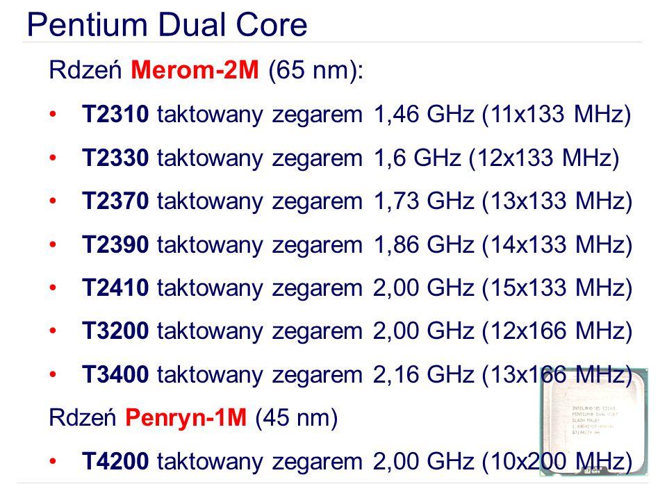 Pentium Dual Core Rdzeń Merom-2M (65 nm): T2310 taktowany zegarem 1,46 GHz (11x133 MHz) T2330 taktowany zegarem 1,6 GHz (12x133 MHz) T2370 taktowany zegarem 1,73 GHz (13x133 MHz) T2390 taktowany zegarem 1,86 GHz (14x133 MHz) T2410 taktowany zegarem 2,00 GHz (15x133 MHz) T3200 taktowany zegarem 2,00 GHz (12x166 MHz) T3400 taktowany zegarem 2,16 GHz (13x166 MHz) Rdzeń Penryn-1M (45 nm) T4200 taktowany zegarem 2,00 GHz (10x200 MHz)