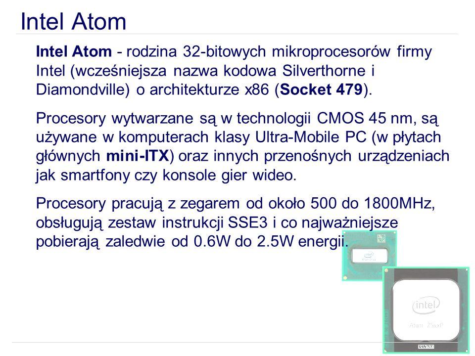 Intel Atom - rodzina 32-bitowych mikroprocesorów firmy Intel (wcześniejsza nazwa kodowa Silverthorne i Diamondville) o architekturze x86 (Socket 479).