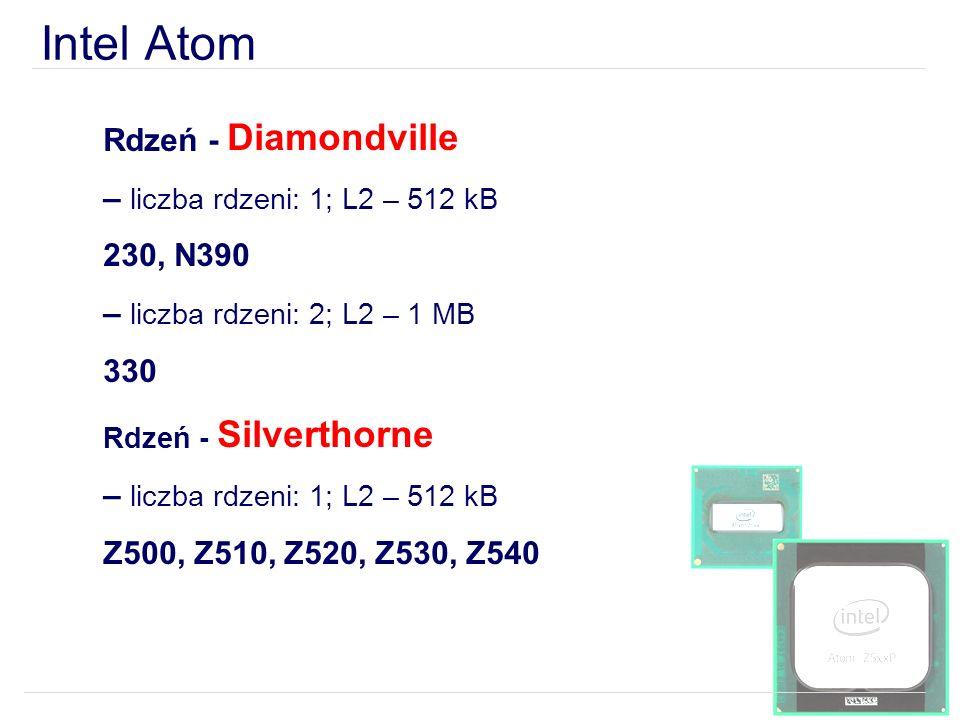 Intel Atom Rdzeń - Diamondville – liczba rdzeni: 1; L2 – 512 kB 230, N390 – liczba rdzeni: 2; L2 – 1 MB 330 Rdzeń - Silverthorne – liczba rdzeni: 1; L2 – 512 kB Z500, Z510, Z520, Z530, Z540