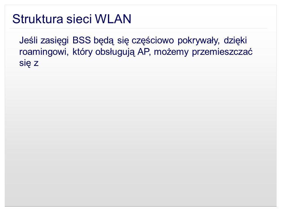 Struktura sieci WLAN Jeśli zasięgi BSS będą się częściowo pokrywały, dzięki roamingowi, który obsługują AP, możemy przemieszczać się z