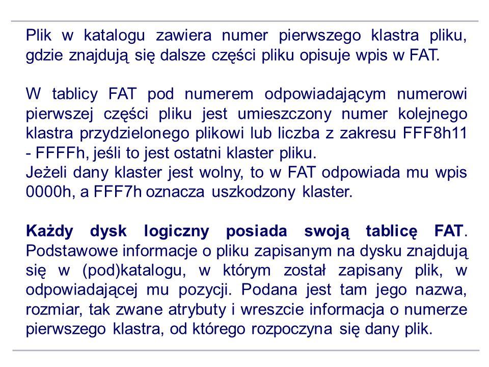 Plik w katalogu zawiera numer pierwszego klastra pliku, gdzie znajdują się dalsze części pliku opisuje wpis w FAT. W tablicy FAT pod numerem odpowiada