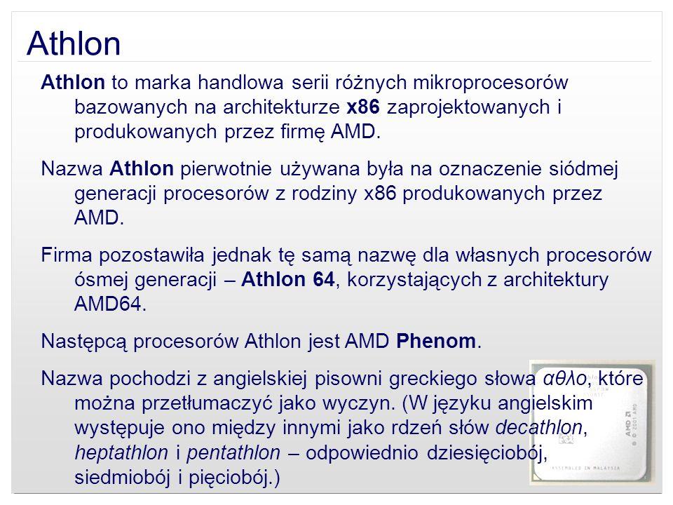 Athlon Athlon to marka handlowa serii różnych mikroprocesorów bazowanych na architekturze x86 zaprojektowanych i produkowanych przez firmę AMD. Nazwa