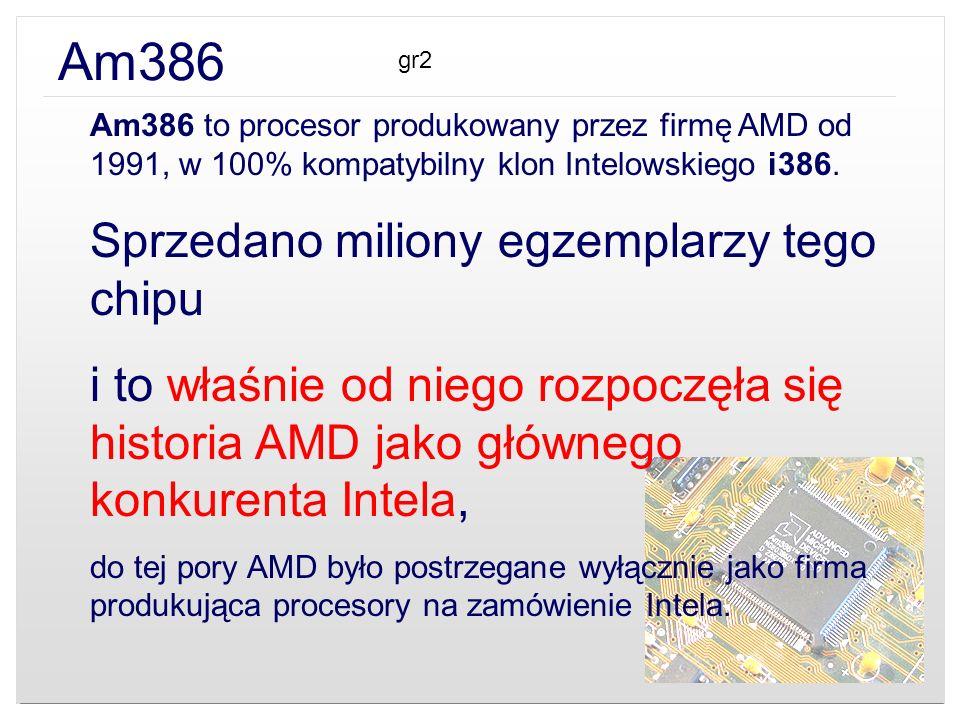 Am386 Am386 to procesor produkowany przez firmę AMD od 1991, w 100% kompatybilny klon Intelowskiego i386. Sprzedano miliony egzemplarzy tego chipu i t