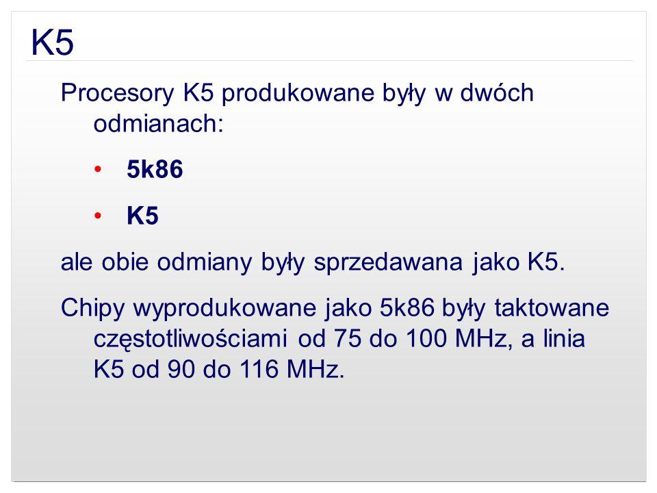 K5 Procesory K5 produkowane były w dwóch odmianach: 5k86 K5 ale obie odmiany były sprzedawana jako K5. Chipy wyprodukowane jako 5k86 były taktowane cz