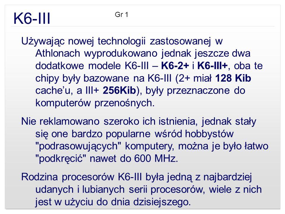 K6-III Używając nowej technologii zastosowanej w Athlonach wyprodukowano jednak jeszcze dwa dodatkowe modele K6-III – K6-2+ i K6-III+, oba te chipy by