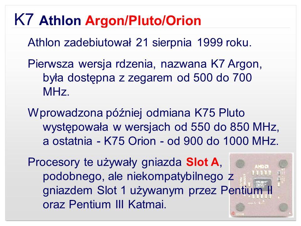 K7 Athlon Argon/Pluto/Orion Athlon zadebiutował 21 sierpnia 1999 roku. Pierwsza wersja rdzenia, nazwana K7 Argon, była dostępna z zegarem od 500 do 70