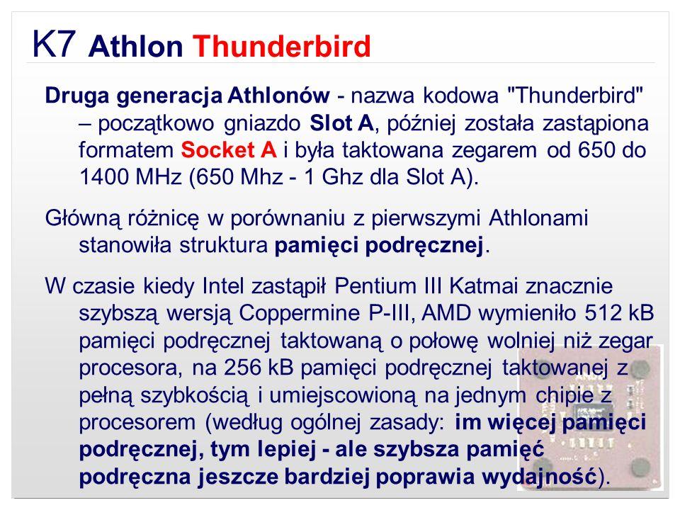 K7 Athlon Thunderbird Druga generacja Athlonów - nazwa kodowa