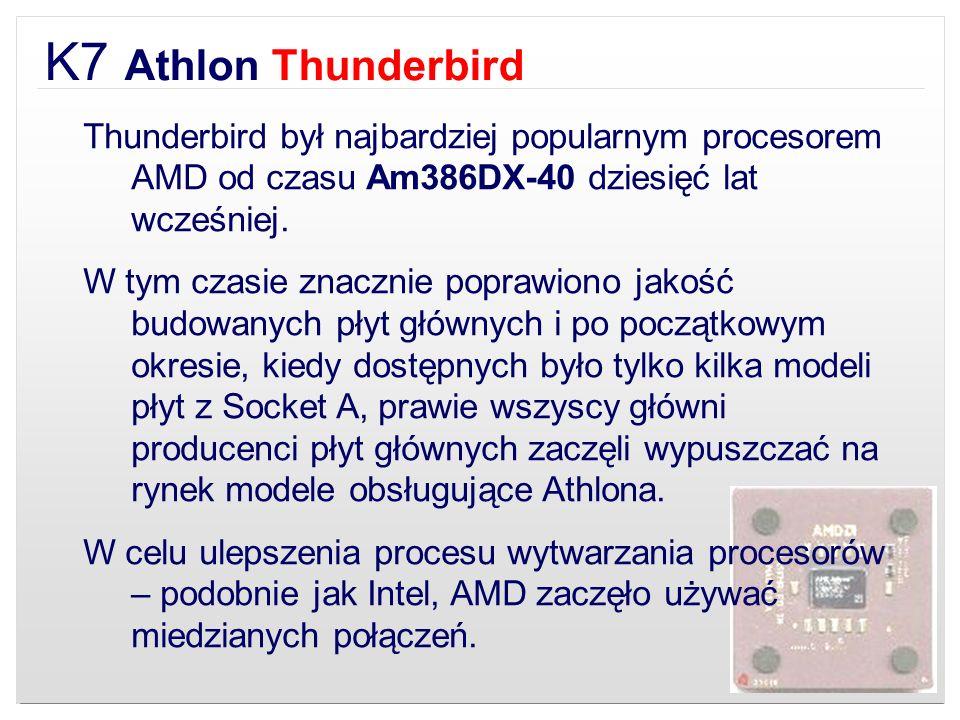 K7 Athlon Thunderbird Thunderbird był najbardziej popularnym procesorem AMD od czasu Am386DX-40 dziesięć lat wcześniej. W tym czasie znacznie poprawio