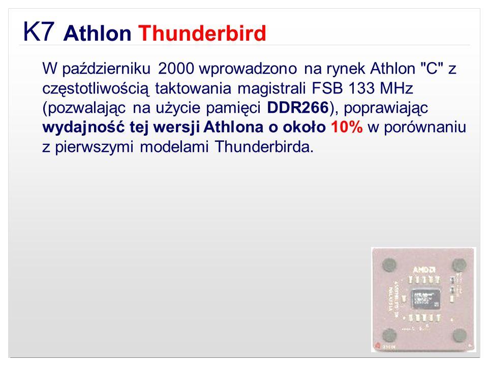 K7 Athlon Thunderbird W październiku 2000 wprowadzono na rynek Athlon